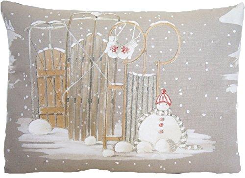 Bonhomme de neige de Noël Housse de coussin Taie d'oreiller couverture de Noël Neige Gris Blanc