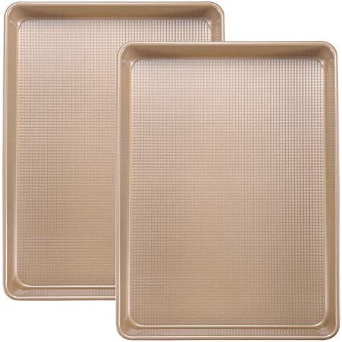 Joho Baking Cookie Sheets Baking Pan Set, Large Baking Sheets for Oven Nonstick, Professional Bakeware Set, 2-Piece, 10x15in, Gold