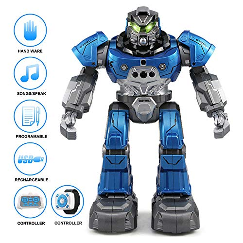 B&H-ERX RC Robot Remote Control Smart Robots Early Education Kids Toy with Gesture Control,Programmable,Toddler,Walking,Singing,Dancing-Best Gift for Your Kids,Blue