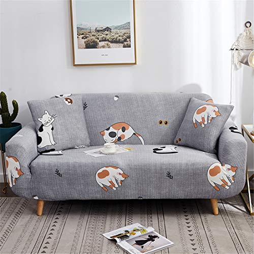 Chickwin Funda de Sofá Elástica, Protector para Sofás Cubre Sofá Universal Se Adapta a Toda la Tela Cubierta de Muebles Elegante y Duradera para Asientos (3 plazas: Sofa 195-230 cm,Gato)