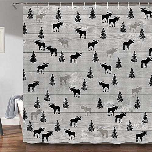 Rustic Lodge Cabin Shower Curtain, Vintage Moose Deer Pine Tree Decor Country Style Bathroom Curtains with 12 Hooks Sets, Wildlife Design Gray and Black Bathroom Accessories, 69 X 70 Inch