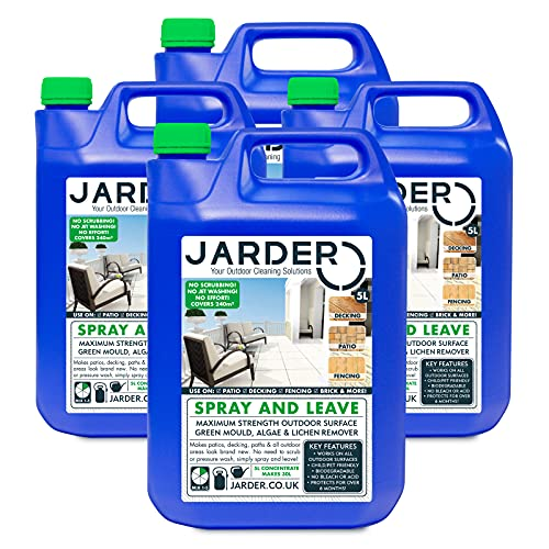 Jarder Spray & Leave 4 x 5 Litre Concentrate Cleaner - Patio Fencing Decking - Moss, Green Mould, Algae & Lichen Killer (20L)