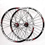 N&I Mountain Bike Wheelset 29/26 / 27.5 Inch Bicycle Wheel (Front + Rear) Double Walled Aluminum Alloy MTB Rim Fast Release Disc Brake 32H 7-11 Speed Cassette Red 26 in