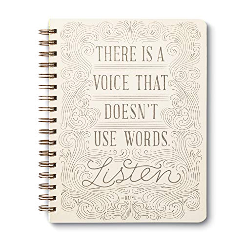 """Caderno Wire-O da Compendium: """"Há uma voz que não usa palavras. Ouça."""" - 192 páginas pautadas"""