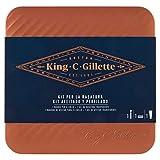 Gillette King C. Kit Regalo da Uomo Get Sharp, Rasoio per il Collo, 1 Lama, Gel Trasparente per La Rasatura 150 ml, Scatola di Latta