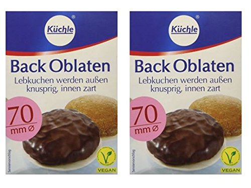 "Kuchle Back Oblaten Round Wafer Edible Paper for Baking - 70mm (2.75"") 100 Pieces - Pack of 2"