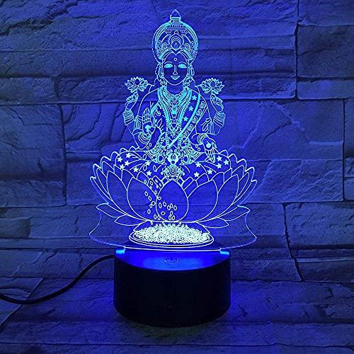 Dios hindú 3DLED Luz de noche Acrílico Carga USB Base táctil Lámpara de mesa Decoración del hogar Regalo