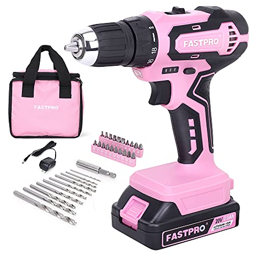FASTPRO Pink Drill Driver—20V Max Lithium-ion Cordless Drill Driver Set, 3/8 in. Drill Driver kit with One 2.0 Ah Batteries, Charger and Tool Bag