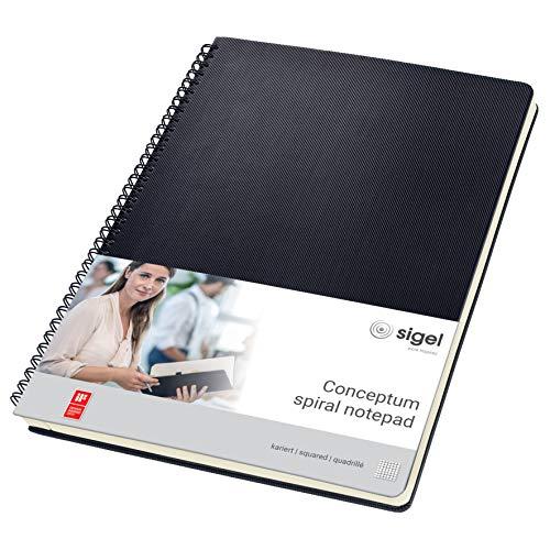 SIGEL CO820 Spiralblock A4, kariert, Hardcover, schwarz, 80 Blatt, Conceptum - auch in A5