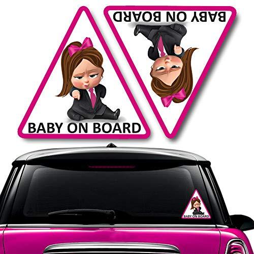 Biomar Labs® 2 pcs Bebé a Bordo Boss Pegatinas Vinilo Baby an Board Adhesivo Autos Coche Motos Ordenador Portátil B 166
