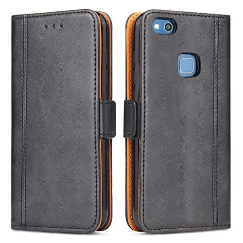 Bozon Huawei P10 Lite Hülle, Leder Tasche Handyhülle für Huawei P10 Lite Schutzhülle Flip Wallet mit Ständer und Kartenfächer/Magnetverschluss (Schwarz)