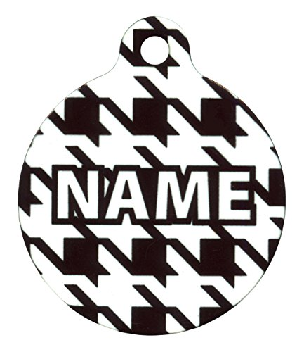 1.5' Houndstooth White and Black Personalized Hi-Def Pet ID Tag with Silencer, Large, Yellow Dog Design