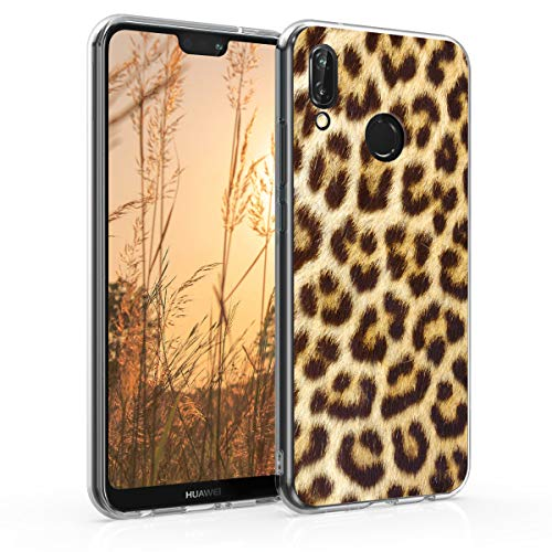 kwmobile Cover Compatibile con Huawei P20 Lite - Back Case Custodia in Silicone TPU Trasparente Leopardo Arancione/Beige/Marrone Scuro