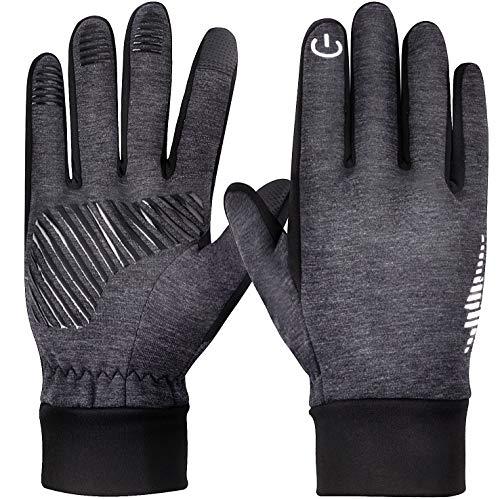 Guantes de invierno con pantalla táctil para mujer, hombre, correr, ciclismo, drving (gris, M)