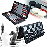 JIMIYOKI 3 in 1 Game Set -Chess Checkers Backgammon Pieces Travel Chess Set Magnetic Foldable Chess Set Portable Board Game for Tour for Kids and Adults