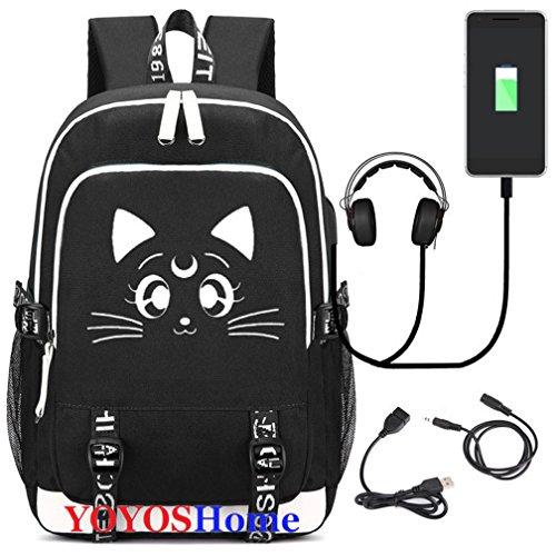 YOYOSHome Luminous Japanese Anime Cosplay Daypack Bookbag Laptop Bag Backpack School Bag with USB Charging Port (Sailor Moon)