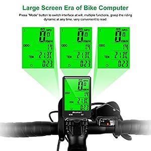 Blusmart - Ciclocomputador inalámbrico para bicicleta, IP66, resistente al agua, cuentakilómetros, 21 funciones, inalámbrico, para bicicleta