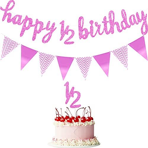 Bandera de Feliz Cumpleaños de 6 Mese Bandera de Happy 1/2 Birthday Topper de Pastel de 1/2 Medio Año de Brillantes Bandera Triangular para Decoración, Pre-encordado (Rosa)