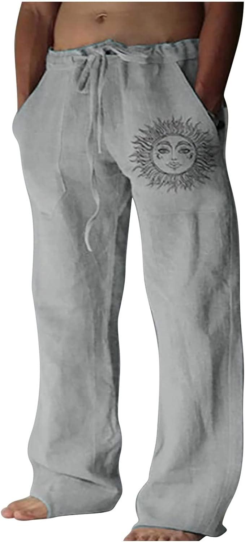QTOCIO Yoga Pants Mens Linen Loose Casual Summer Beach Pants Lig