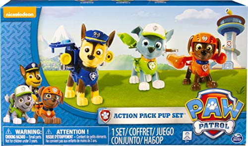 PAW PATROL 6024061 Figurines Chiot Action Paquet Ensemble de 3 - Version 2 (Chase, Rocky, Zuma)