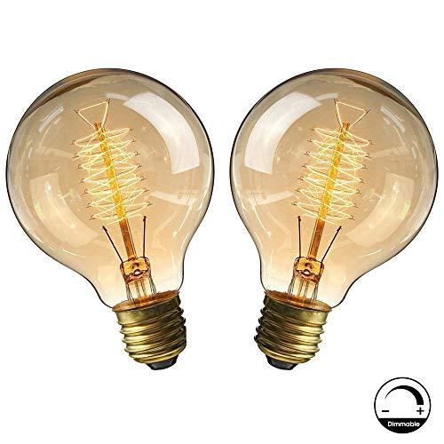 Lampadine vintage E27 40W, Retro lampada decorativa Edison G80 Lampadina regolabile a filamento in tungsteno bianco caldo 2700-2900K - 2 pezzi (Reeling)