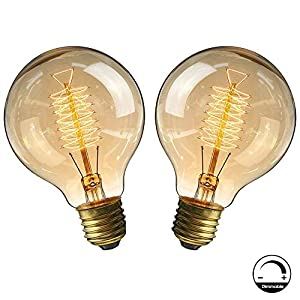 Bombillas Vintage E27 40W,Lampara decorativa retro Edison G80 regulable Bulbo Filamento Tungsteno Blanco cálido 2700-2900K - 2 Piezas (Sinuoso)