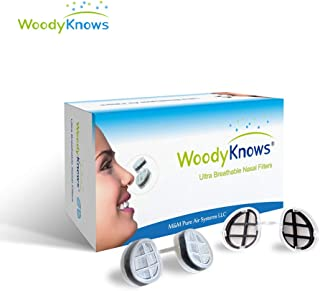 WoodyKnows Ultra Breathable Nasal Mask, Nose Respirator (Round Nostrils, Multi-Size Pack(4 PCs))