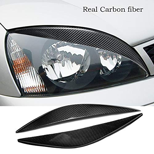 hageza Real Carbon Fiber Headlight Eyebtrow Eyelid Cover For Ford Fiesta MK6 2002-2005