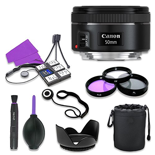 Canon EF 50mm f/1.8 STM Lens for Canon Digital SLR Cameras with 49mm Filter Kit (UV, CPL, FLD) + Accessory Bundle (12 Items)