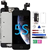 for iPhone 5S Screen Replacement with Home Button Black, Mobkitfp Full Assembly LCD Touch ...