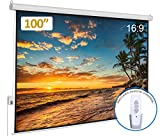 Auto Motorized Projector Screen 100 inch 16:9 HD Diagonal with Remote Control, Wall/Ceiling Mounted...
