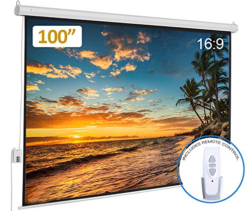 Electric Motorized Projector Screen 100 inch 16:9 HD Diagonal with Remote Control, Wall/Ceiling...
