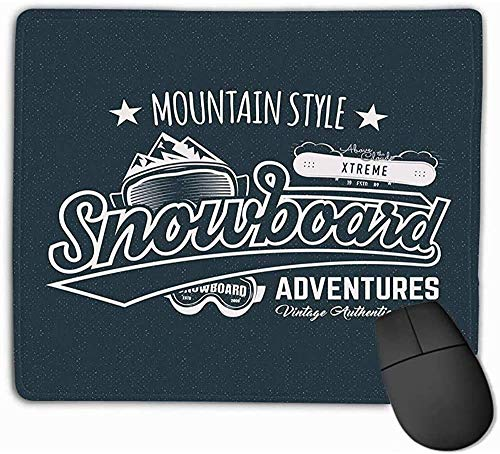 N/A FamilyMouse pad, standaard SizeMousepad winter snowboard Sports Label Vintage Mountain Style Design Outdoor Adventure Typography 25 x 30 cm