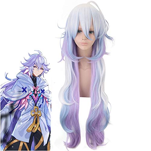 Fate/Grand Order Merlin Cosplay peluca 100 cm largo recto plata azul prpura degradado pelo sinttico para regalo de fiesta de HalloweenPL-494