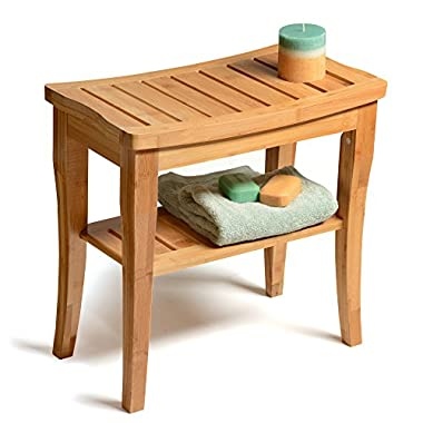 Bamboo Shower Bench Seat Wooden Spa Bench Stool with Storage Shelf, Bath Seat Bench Stool Perfect for Indoor or Outdoor. By Bambusi