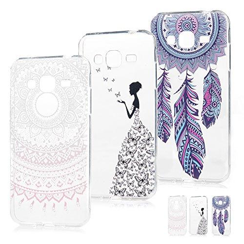 Coque Samsung Galaxy J3 2016 Etui x 3 Peinture TPU Silicone Cover Ultra Léger Doux Lisse lumière Créatif Exclusif de Protection de Transparent Téléphone Case -- Belle Combinaison 3