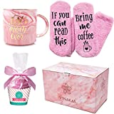 VINAKAS birthday gift for mom - 12oz Gold and Pink Ceramic Marble mom mug reads'BEST MOM EVER' and fuzzy socks! - Perfect Gifts for mom or new mom gifts…