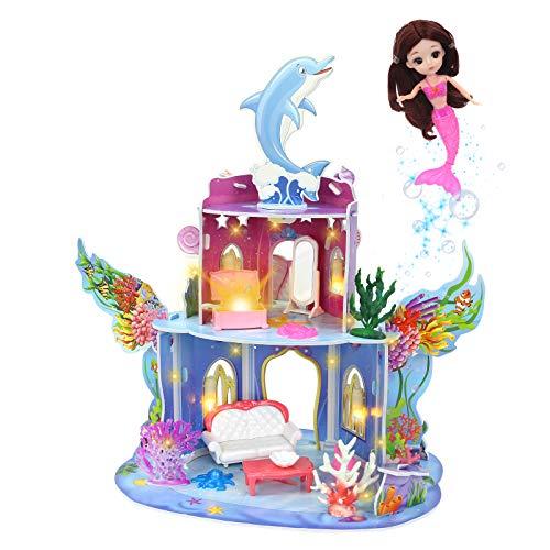 onehous Casa de Muñecas, 2 Pisos Casa de Muñecas Mermaid Cottage, DIY Juego de Juego Casa de Muñecas con Accesorios y Mobiliario, Casa de Juegos 3D para Niñas