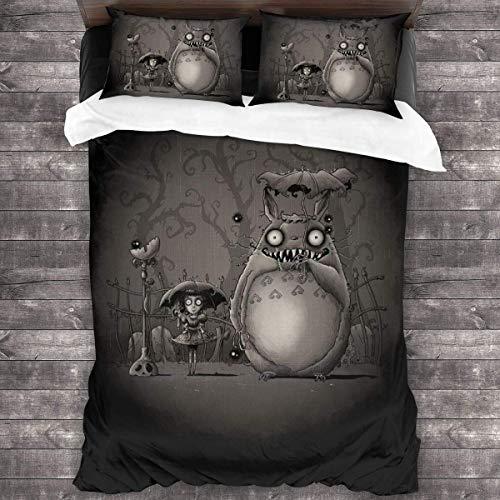 Knncch My Creepy Neighbour Totoro Tim Burton Juego de Cama de 3 Piezas Funda nórdica Juego de Cama Decorativo de 3 Piezas con 2 Fundas de Almohada