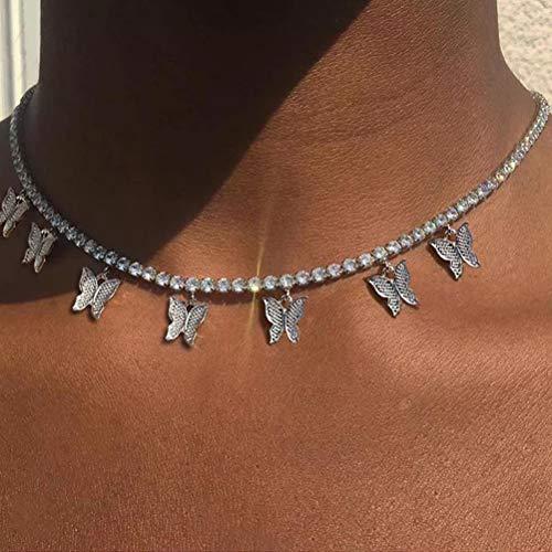 Wopohy Butterfly Choker Halskette, Strass Halskette Silber Little Bling Butterfly Anhänger Halsketten Kette Schmuck Kristallkette Verstellbare Quaste Choker für Frauen Mädchen