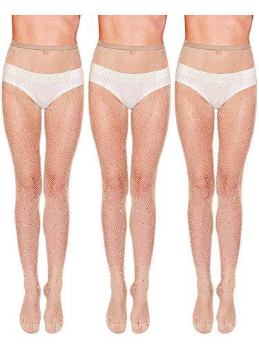 3 Pieces Rhinestone Fishnet Stockings Fishnet Tights Glitter Pantyhose High Waist Mesh Stockings for Women (Flesh-colored)