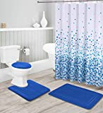 Bathrooms Collection 16-teiliges Badezimmer-Zubehör-Set – rutschfeste Badematte, rutschfeste Konturmatte, WC-Deckelbezug & Duschvorhang mit Rollhaken (Königsblau)