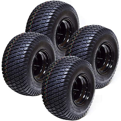 Set of 4 18x8.50x8 ATV Golf Go Cart Lawn Mower Tractor P322 Turf Tire Rim Assembly EZGO Club Car Yamaha E-Z-GO Golf Cart Black Steel Wheels 18' All Terrain Tires