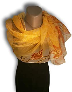 9bc385db388dc LOVE in Yellow Hand Painted Silk Scarf, Woman Silk Scarf, Pure Silk Shawl,
