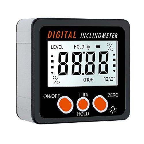 Proster Buscador de Ángulo LCD Inclinómetro Digital con Base Magnética Transportador de Angulo con Luz de Fondo y Función de Reestablecer con Batería para Carpintería Mantenimiento de Automóviles