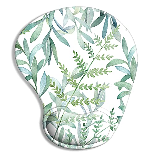 Ergonomic Mouse Pad with Wrist Support Gel, iDonzon Cute Wrist Pad with Non-Slip Rubber Base, Easy Typing & Pain Relief, Green Plants