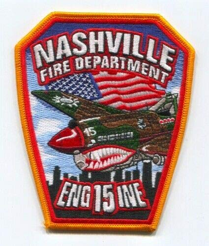 Special Patches Nashville Fire Department Engine 15 Patch Tennessee TN Shark Mouth Plane