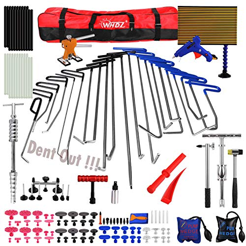 WHDZ Paintless Dent Repair Rods Kit Tools Repair Hammer LED Double Stripe Line Board 21pcs Rods for Car Auto Dent Hail Damage Removal Kit