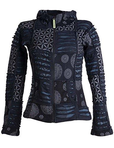 Vishes – Alternative Bekleidung – Kurze, leichte Patchworkjacke aus Baumwolle mit Zipfelkapuze und Cutwork schwarz-grau 38