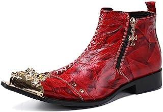 Bottes de Cow-Boy pour Hommes Bottines Bottes de Cowboy Bottes Hautes Bottes en Métal Bout Pointu Rouge Bottes en Cuir Pun...